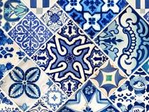 Kolekcja błękitów wzorów płytki Zdjęcia Stock