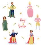 Kolekcja bajka charaktery, królewiątko, królowa, książe i princess, persons w dziejowej kostiumu wektoru ilustraci ilustracji