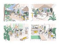 Kolekcja barwioni freehand rysunki meblujący w Skandynawskim hygge stylu wygodny mieszkanie Set pokoje pełno ilustracji