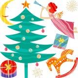 Kolekcja bożych narodzeń i nowego roku elementy Wektorowy płaski projekt z teksturą ilustracji