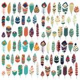 Kolekcja boho rocznika plemienna etniczna ręka rysujący kolorowi piórka Zdjęcia Stock