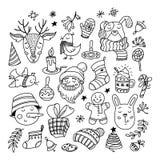 Kolekcja Chrismas doodles, charaktery, rzeczy ilustracja wektor