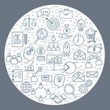 Kolekcja cienka kreskowa biznesowa ikona Zdjęcia Royalty Free