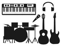 Kolekcja czarne sylwetki instrumenty muzyczni na białym tle royalty ilustracja