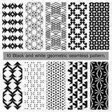 Kolekcja czarny i biały geometryczny bezszwowy wzór Zdjęcie Royalty Free