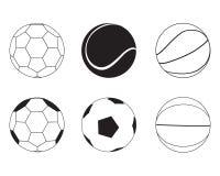 Kolekcja Czarny I Biały sport piłek wektoru ilustracja Fotografia Royalty Free