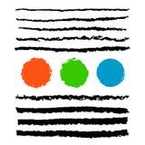 Kolekcja czarny ołówkowy uderzenie szczotkuje z czerwienią, zieleń, błękitna Obrazy Royalty Free