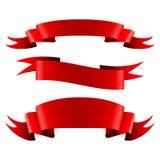 Kolekcja czerwień puści tasiemkowi sztandary Zdjęcia Stock