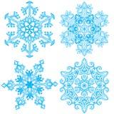 Kolekcja cztery elegancja płatka śniegu ilustracja wektor