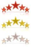 Kolekcja 3D rendering pięć czerwień, złoto i biel gwiazdy, Obrazy Royalty Free