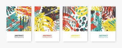 Kolekcja dekoracyjni karty, ulotki lub plakata szablony z jaskrawymi barwionymi abstrakt plamami, kleksy, brushstrokes royalty ilustracja