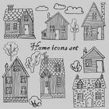 Kolekcja domy, drzewa, krzaki, chmury, wektorowi wizerunki ilustracja wektor