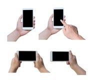Kolekcja dotyka ekranu telefon komórkowy w ręce, odizolowywa na whit zdjęcia royalty free
