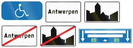 Kolekcja Drogowi znaki Używać w Belgia Zdjęcie Stock