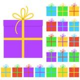 Kolekcja dwadzieścia wielo- barwionych prezentów pudełek ilustracja wektor