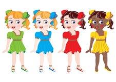 Kolekcja dziewczyny różne narodowości wewnątrz Zdjęcie Stock