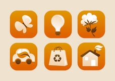 Kolekcja ekologiczne ikony Obrazy Stock
