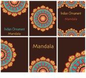 Kolekcja etniczne karty i ślubni zaproszenia z indyjskim ornamentem Obrazy Royalty Free