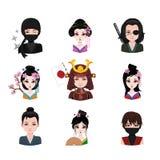 Kolekcja feodalni japończycy royalty ilustracja