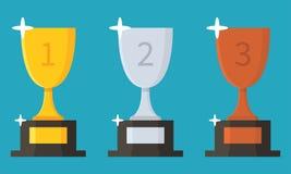 Kolekcja filiżanki Trofeum mieszkania ikona nagradzający nagroda również zwrócić corel ilustracji wektora Zdjęcie Stock