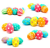 Kolekcja fotografie doskonalić kolorowych handmade Easter jajka Fotografia Stock