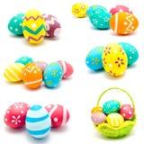 Kolekcja fotografie doskonalić kolorowych handmade Easter jajka Zdjęcie Stock