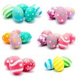 Kolekcja fotografie doskonalić kolorowych handmade Easter jajka Obrazy Stock
