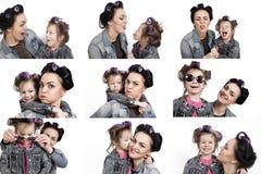 Kolekcja fotografii mała dziewczynka i jej matka w włosianych curlers czarny white Obraz Royalty Free