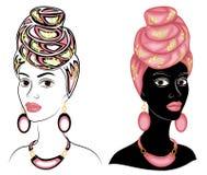 Kolekcja G?owa s?odka dama Na g?owie afroamerykanin dziewczyna jest jaskrawym turbanem i szalikiem Kobieta jest pi?kna royalty ilustracja