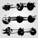 Kolekcja grunge czerni atramentu kleksy na białym tle i sztandary Zdjęcia Royalty Free