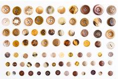 Kolekcja guziki na białym tle Zdjęcie Royalty Free