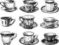 Kolekcja herbaciane filiżanki Fotografia Royalty Free