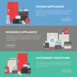 Kolekcja horyzontalni sztandary z gospodarstwem domowym i kuchennymi urządzeniami, akcesoria, naczynia, elektroniczny i ręczny Fotografia Stock