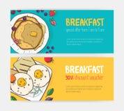 Kolekcja horyzontalny dyskontowy alegat lub talonowi szablony z wyśmienicie śniadaniowymi posiłkami kłama na talerzach jaskrawy royalty ilustracja