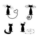 Kolekcja humorystyczni czarny koty Zdjęcie Stock
