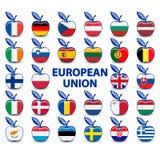 Kolekcja jabłka z europejskimi zrzeszeniowymi flaga Zdjęcia Stock