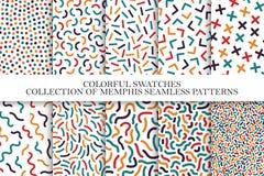 Kolekcja jaskrawi kolorowi bezszwowi wzory Memphis mozaiki projekt - retro moda styl 80-90s royalty ilustracja