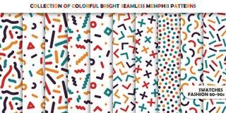 Kolekcja jaskrawi kolorowi bezszwowi wzory Memphis mozaiki projekt - retro moda styl 80-90s ilustracji