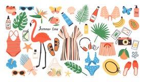 Kolekcja jaskrawy barwiony lato odziewa, akcesoria, artykuły żywnościowy, narzędzia lub dekoracyjni projektów elementy odizolowyw royalty ilustracja