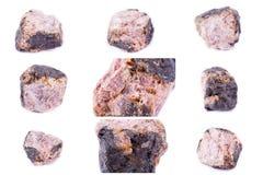Kolekcja kamienny kopalny andaluzyt Obrazy Stock