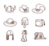 Kolekcja kapelusze, ręka Rysująca Obrazy Royalty Free