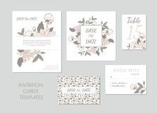 Kolekcja kartka z pozdrowieniami szablon z różowymi kwiatami ilustracja wektor