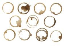 Kolekcja Kawowi plama pierścionki Zdjęcia Royalty Free