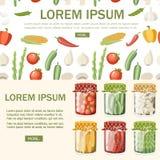 Kolekcja kiszeni warzywa w przejrzystym szklanym s?oju Jarski jedzenie, zdrowy ?asowanie Konserwowa? warzywa mieszkania wektor royalty ilustracja