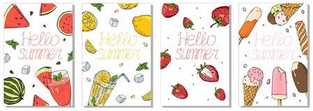 Kolekcja kolorowe karty na lato temacie Odświeżać napoje, owoc i lody, royalty ilustracja