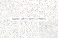 Kolekcja kolorowi bezszwowi Memphis wzory delikatny projekt royalty ilustracja