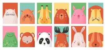 Kolekcja kolorowi karciani szablony z portretami różny śmieszny uroczy dziki i zwierze domowy odizolowywającymi dalej royalty ilustracja