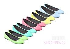 Kolekcja kolorowi lato buty odizolowywający na białym tle Zdjęcia Royalty Free