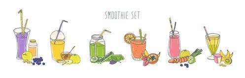 Kolekcja kolorowi odświeżający miękcy napoje w szkłach i słojach z słoma i składnikami Set smoothies robić ilustracji