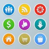 Kolekcja kolorowy round etykietek projekt dla sieci Obrazy Royalty Free